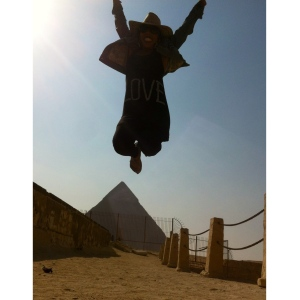 Obligatory jumping in the desert in front of a pyramid photo